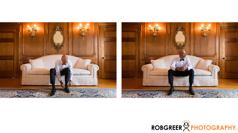Groom Gets Ready for Wedding at Villa Del Leon Mansion