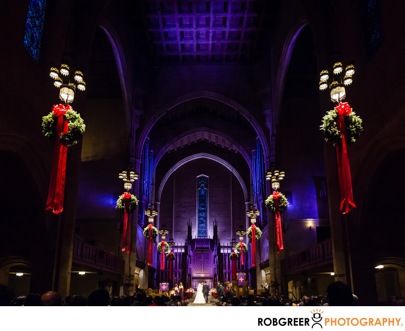 First Congregational Church Wedding at Christmas