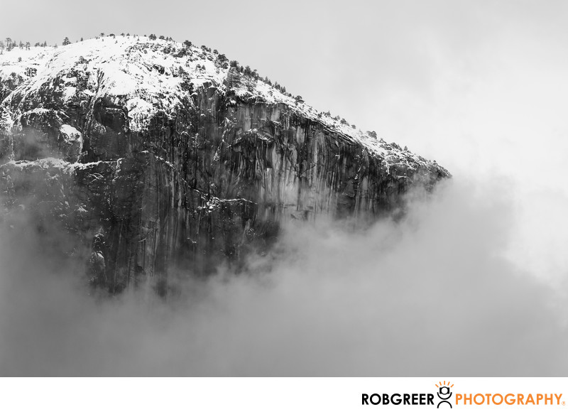 Winter Mountaintop in Yosemite Floating in Clouds