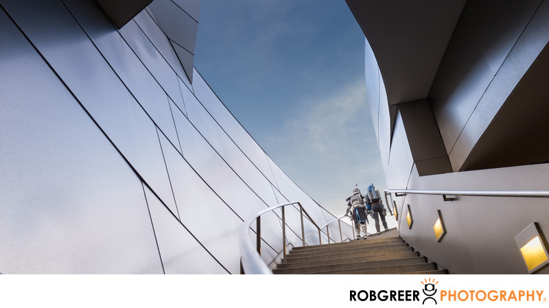 Captain Rex & Bo-Katan Ascend Staircase at Disney Hall