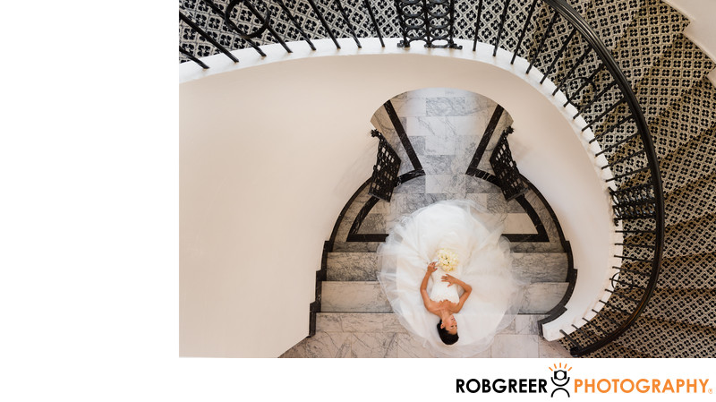 The Winding Staircase Bride at Mansion