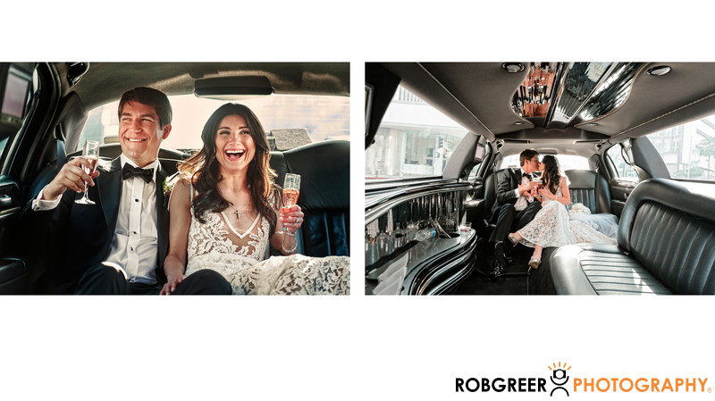 Laughing Bride & Groom in Limo at SLS Beverly Hills