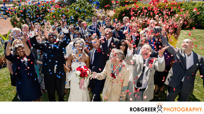 Guests Toss Confetti After Wedding Ceremony