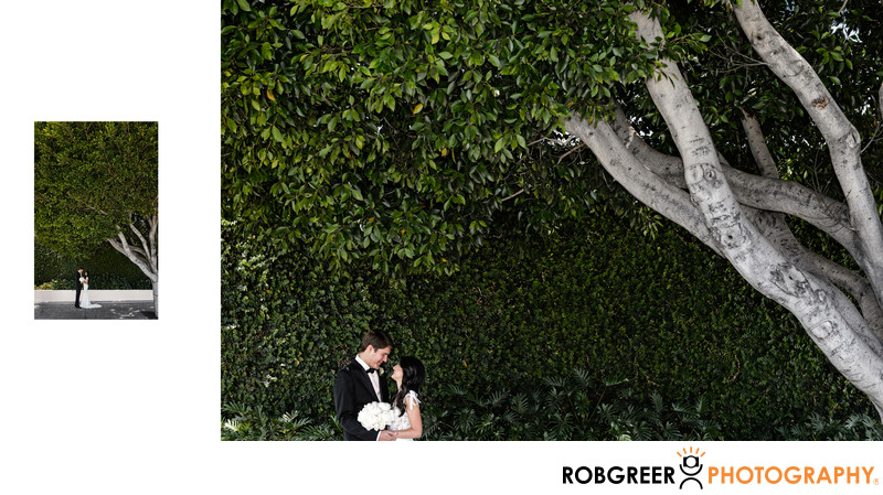 Couple Meet under Tree at SLS Hotel Beverly Hills