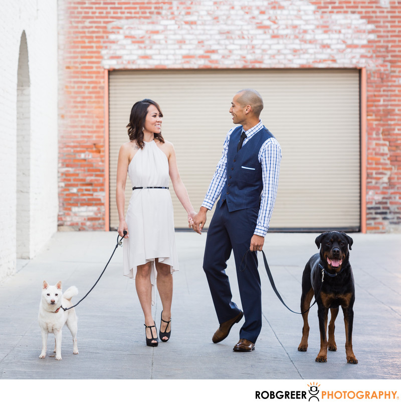 Dogs with Couple During Old Town Pasadena Engagement
