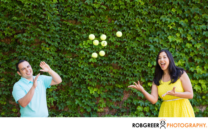 Tennis Fans at Ivy Wall at UCLA Engagement Session