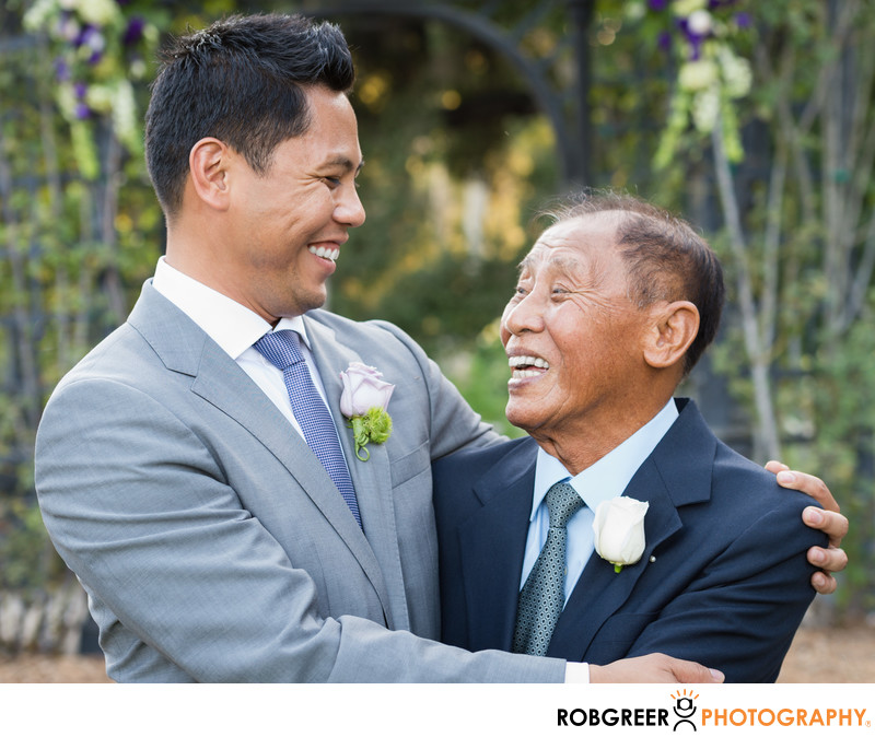 Groom & Father Laughing at La Canada Descanso Gardens