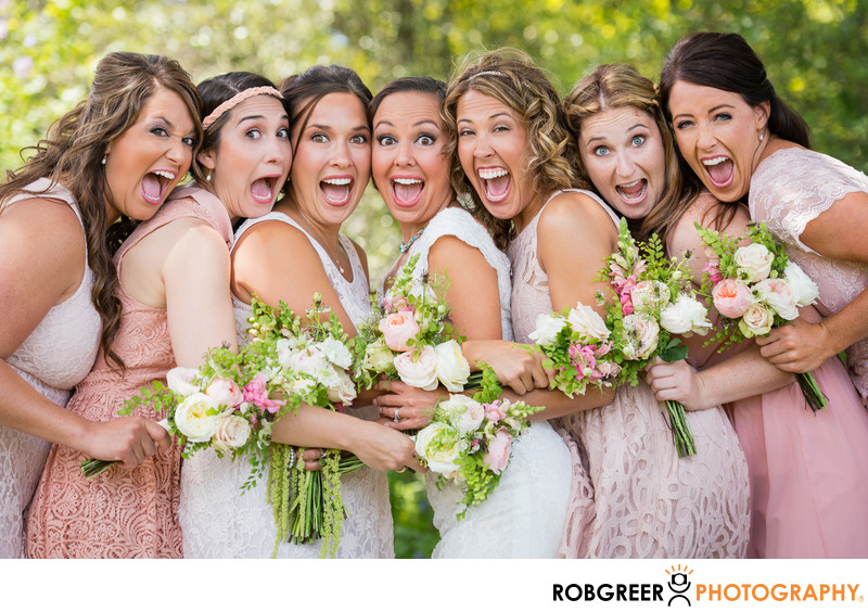 Fun Photo of Bride & Bridesmaids at South Coast Botanic