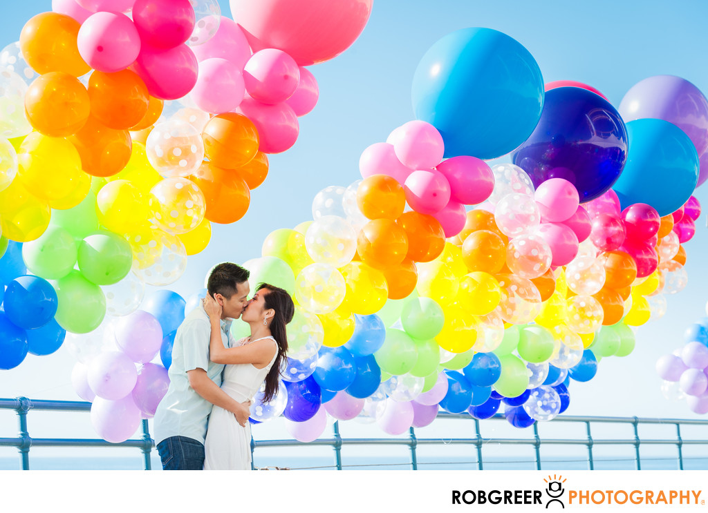 Huge Balloons at Santa Monica Pier Engagement Session