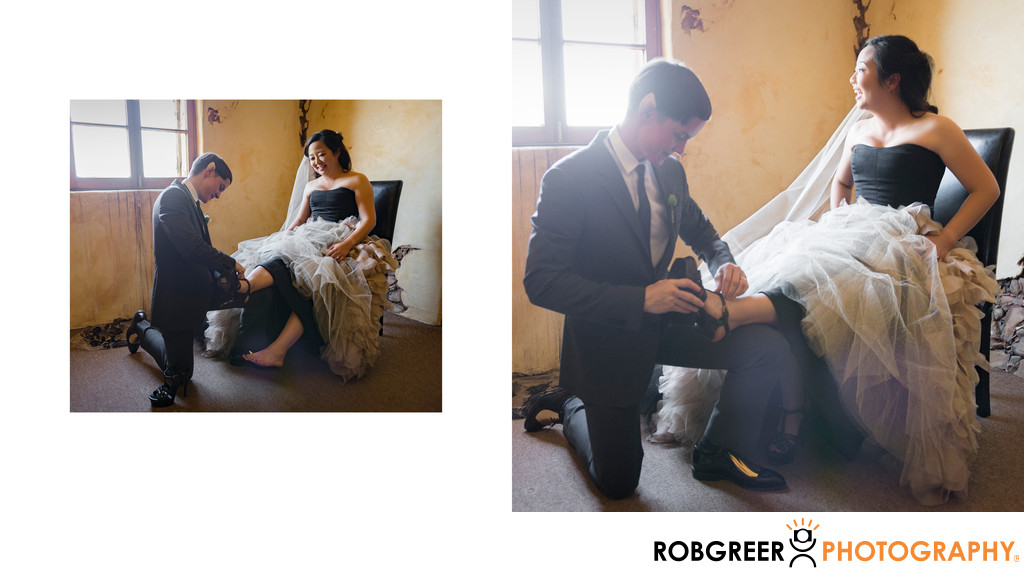 Bride is Assisted with Wedding Shoes