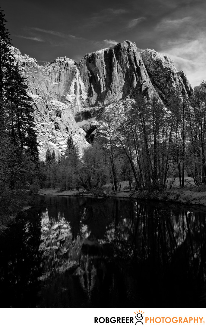 Frozen Yosemite Falls Reflected in Merced River