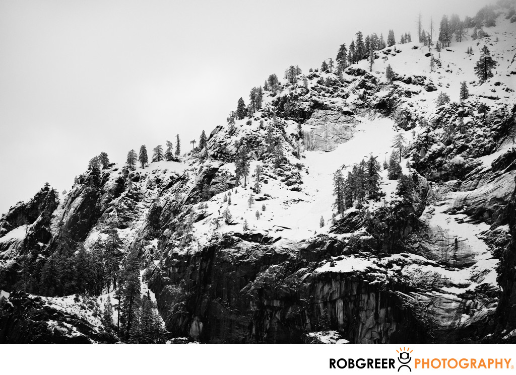 Rugged Mountaintop during Yosemite Winter
