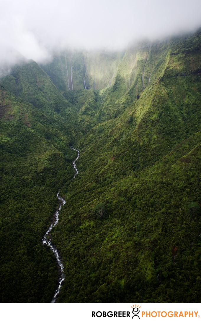 Aerial View of Jungle Canyon in Kauai