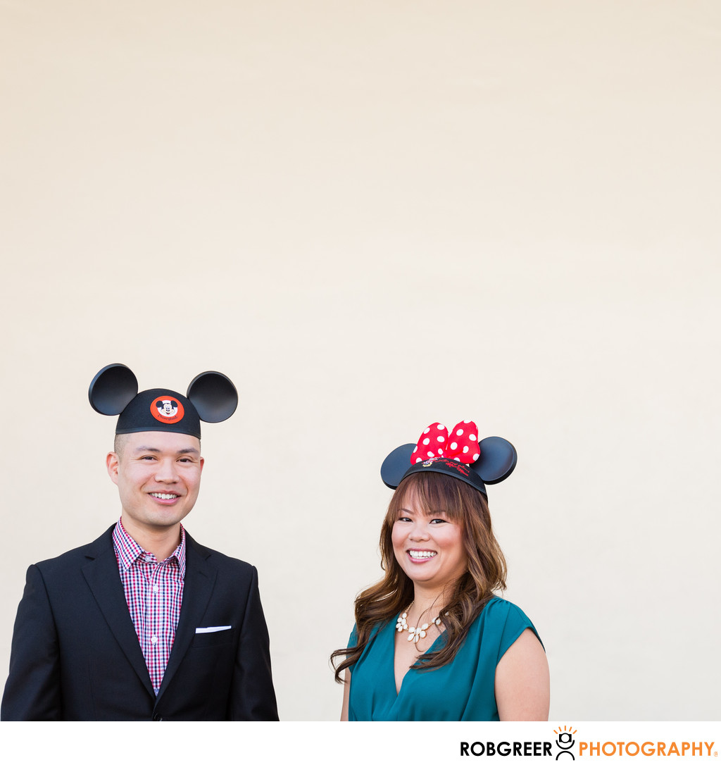 Disney Fan Couple with Mickey and Minnie Hats