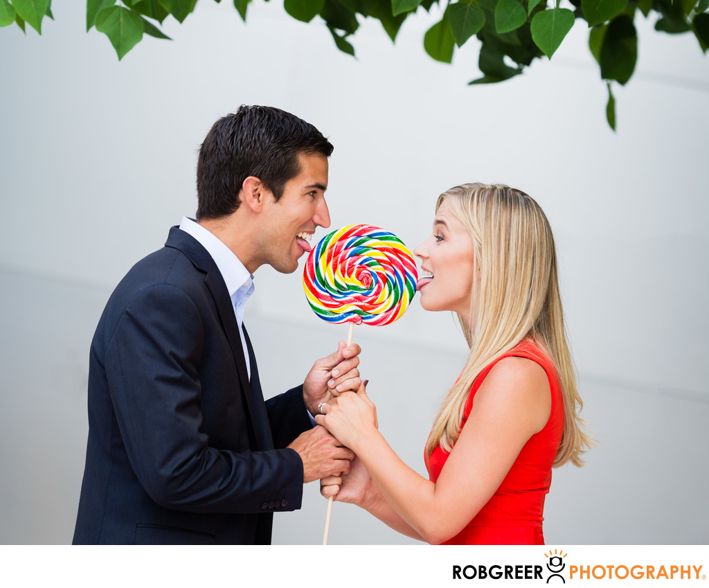 Lollipop Licking Engagement Photography