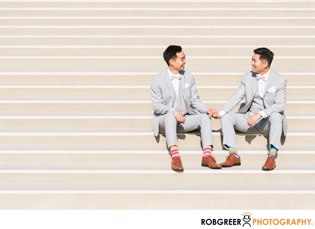Gay Grooms Hold Hands: Couple's Portrait