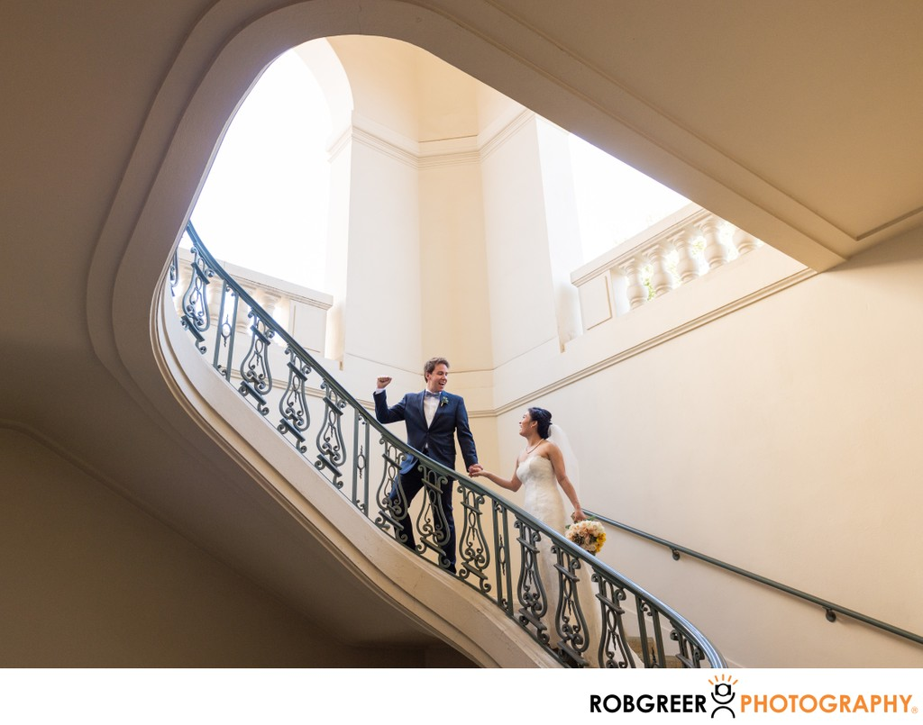 Bride & Groom Climb Stairs