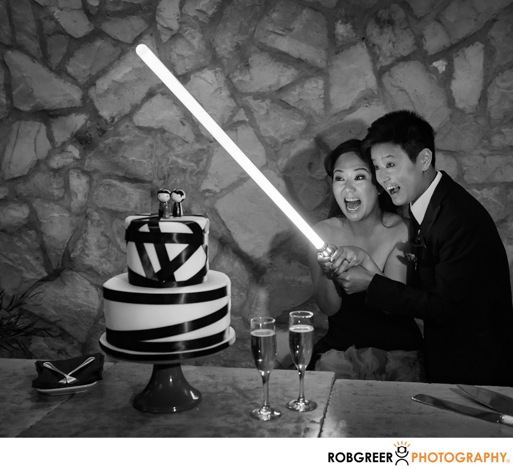 Light Saber Cake Cutting
