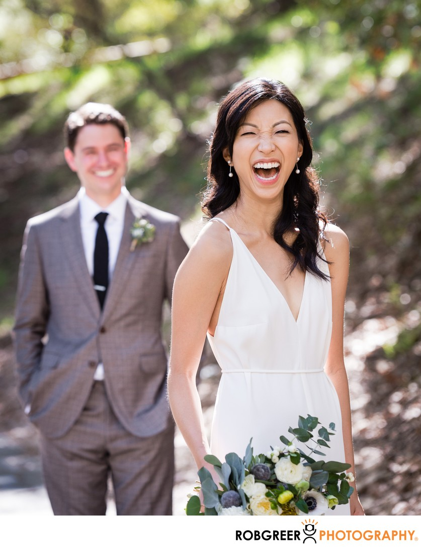 Bride Laughing: Groom Smiling