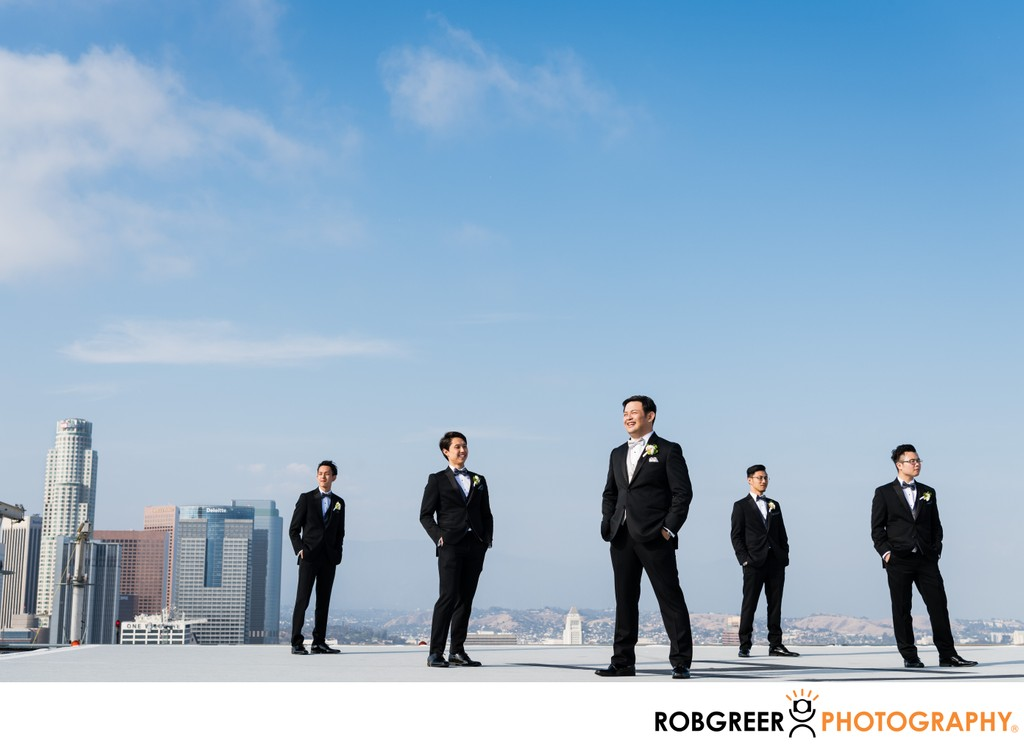 Downtown Rooftop Groomsmen Portrait