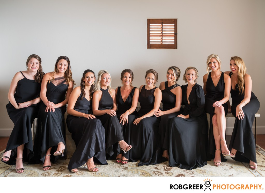 Bridesmaids Portrait: Seated Sisters