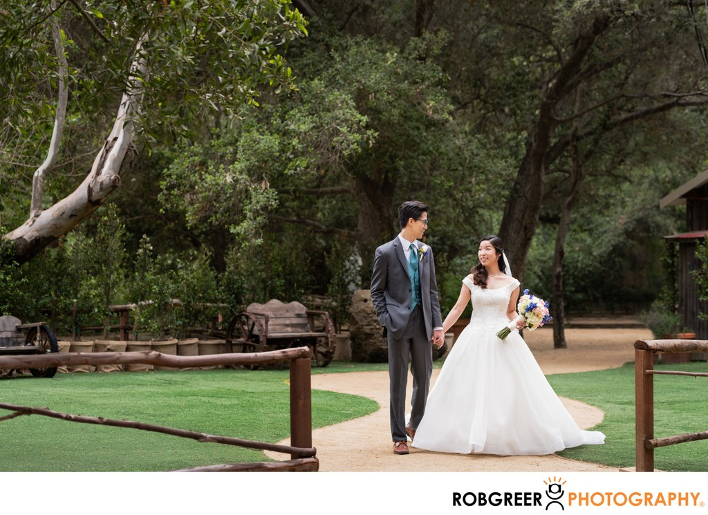 Bride & Groom Walking: Wedding Ranch