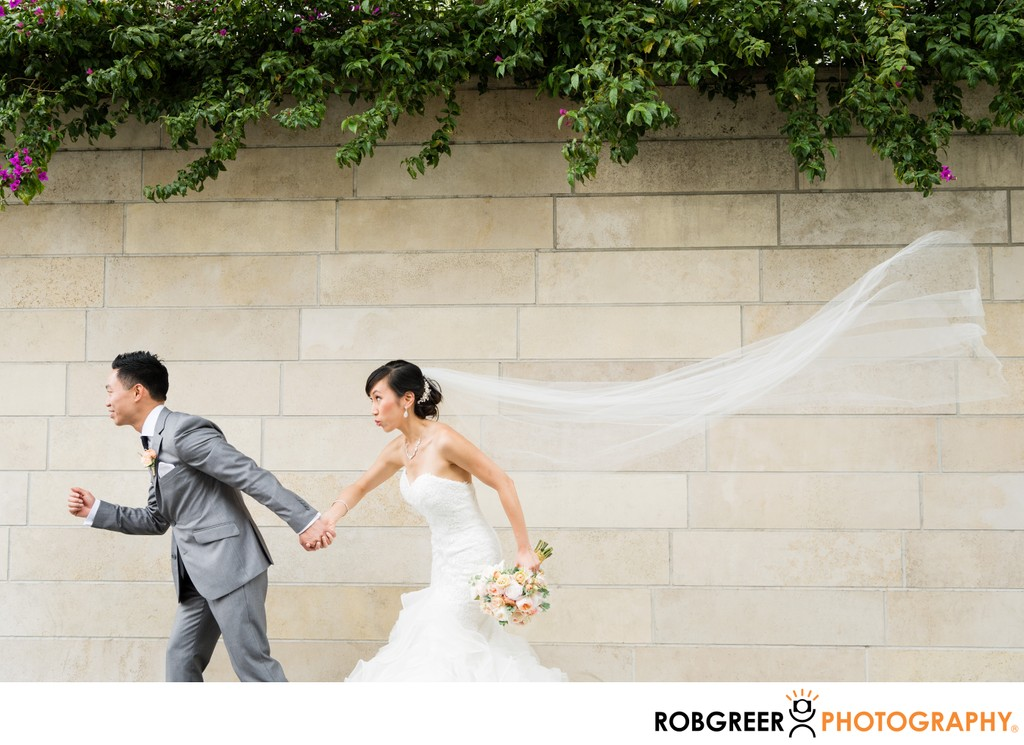 Bride & Groom: Running with Veil Flying