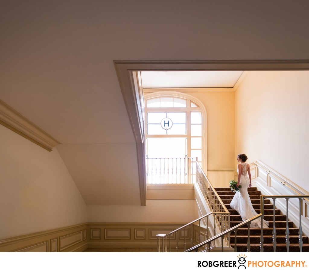 Bride Ascends Wedding Venue Stairs