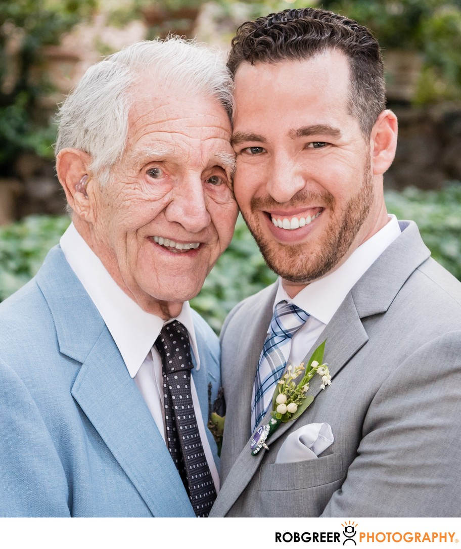 Groom Embraces Grandfather