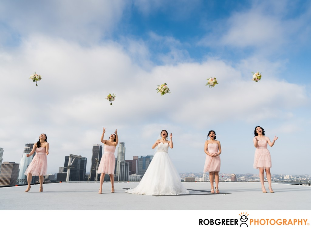 Bridal Party Bouquet Toss: Downtown Rooftop
