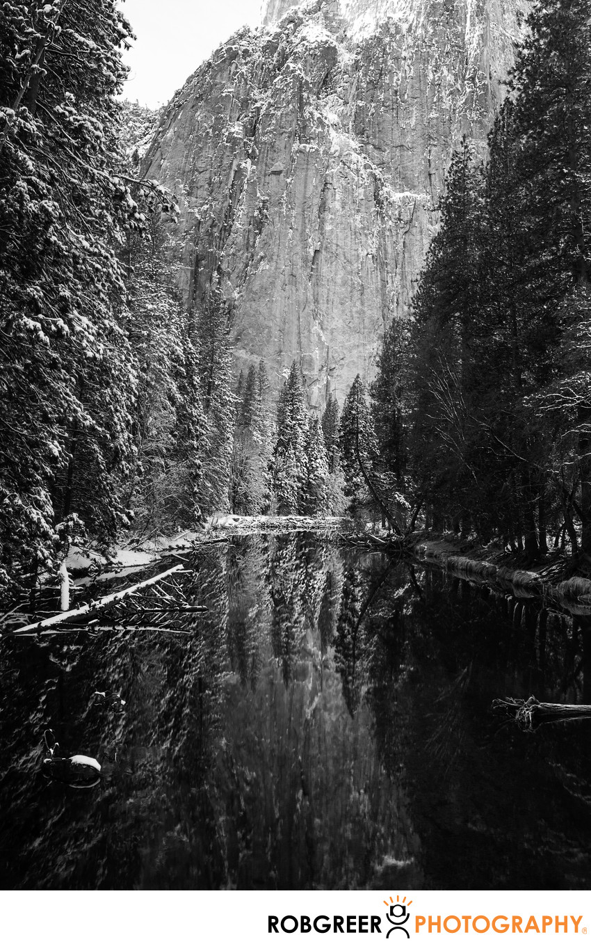 Merced River in Winter Reflecting Trees & Mountains