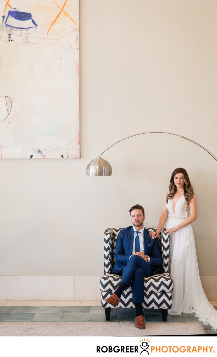 Modern Bride & Groom Indoor Portrait