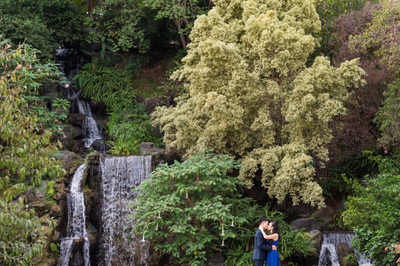Couple at LA Arboretum Waterfall