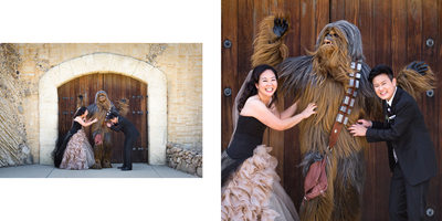 Same Sex Wedding Couple Tickles Chewbacca