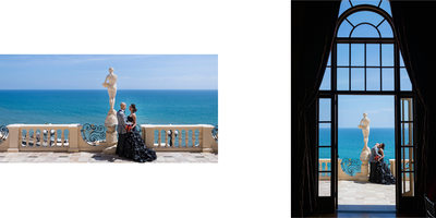 Bride & Groom on Malibu Patio Overlooking Pacific Ocean