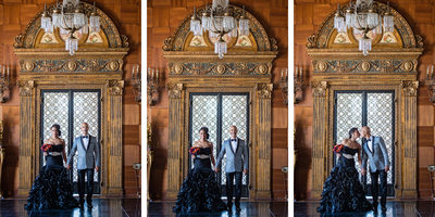 Triptych of Malibu Bride and Groom at Villa Del Leon