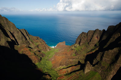 Aerial View of Napali Coast Landward View