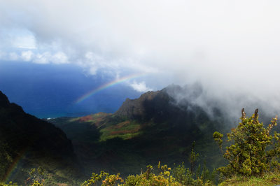 Clouds & Rainbow at Kalalau Lookout, Kauai
