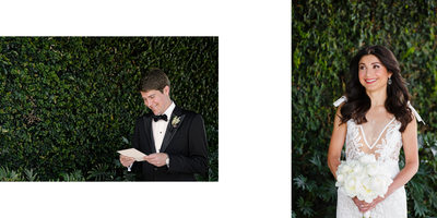 Groom Reads Sweet Card from Bride Before First Look