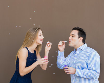Blowing Bubbles During Old Town Pasadena Engagement