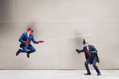 Marvel / DC Themed Wedding Photo: Spiderman & Batman