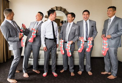Groomsmen with Groom's Gifts