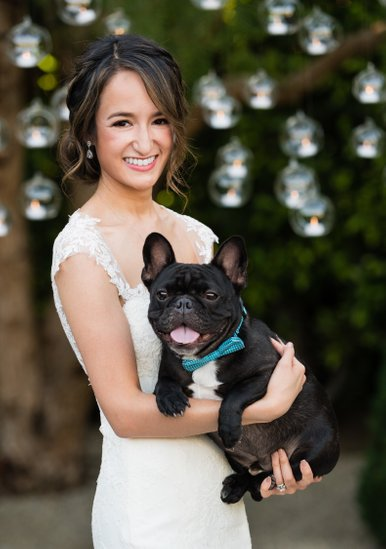 Bride Poses with Dog: Cocktail Hour