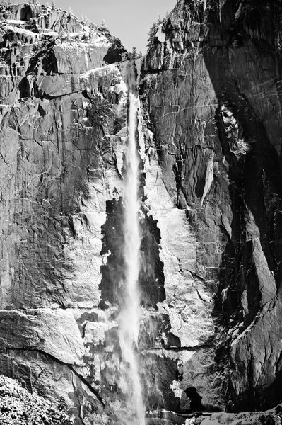 Frozen Upper Yosemite Falls in Black & White